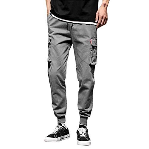 YKARITIANNA Men's New Fashion Casual Cotton Elastic Waist Multiple Pockets Loose Jeans Pants (Layette Set Imagine)