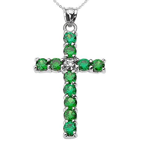 Collier Femme Pendentif 10 Ct Or Blanc Diamant et Vert Oxyde De Zirconium Croix (Livré avec une 45cm Chaîne)