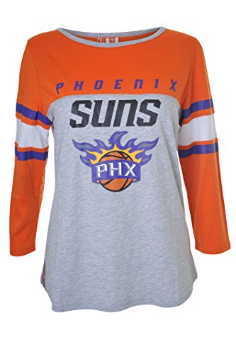 (NBA Phoenix Suns Women's T-Shirt Raglan Baseball 3/4 Long Sleeve Tee Shirt, Large,)