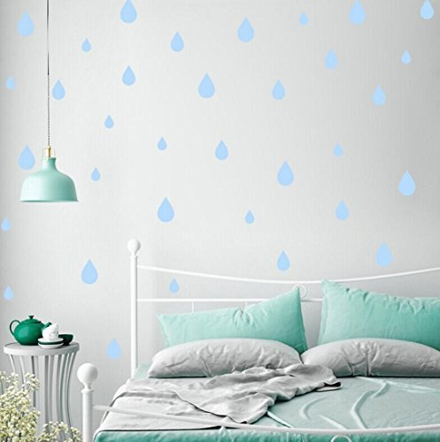 Highpot Creative DIY Various Shapes of Wall Sticker, Butterflies/Cactus/Raindrops/Moon/Clouds/Dots/Triangles Removable Home Baby Room Nursery Art Decoration (Raindrops, Light Blue)