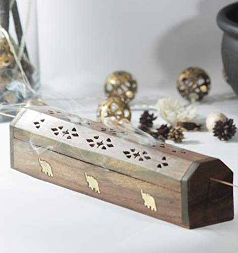 Burner Incense Long (Gifts, Coffin Incense Holder Burner with Incense Ash Catcher with Various Design Handcrafted from Strong Mango Wood (Brown Coffin))