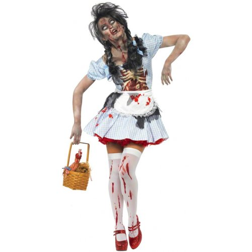 [Smiffy's Women's Horror Zombie Country girl Costume, Dress with Latex Chest Piece and Apron, Zombie Alley, Halloween, Size 6-8, 21579] (Dorothy Costume Uk)