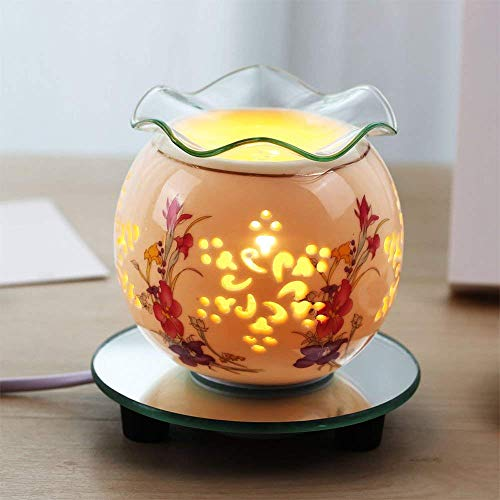 Lily Oil Lamp - HwaGui - Multifunctional Electric Oil Burner,Essential Oils and Fragrance Diffuser, Calla Lily Pattern Wax Warmer,Ceramic Incense Oil Lamp for Gifts and Night Light (220V)