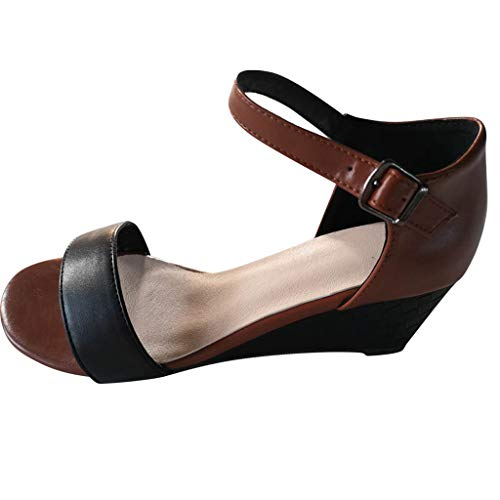 Women One Band Classic Sandals Peep Toe Wedge Ankle Strap Buckle Vintage Contrast Strappy Heeled Sandals by Lowprofile Brown