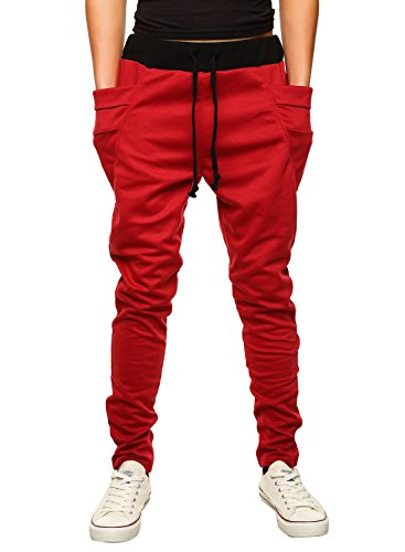 HEMOON Mens Jogging Pants Tracksuit Bottoms Training Running Trousers Red XL