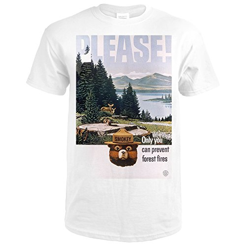 Smokey Bear - Please - Only You Can Help - Lake and Forest - Vintage Poster (Premium White T-Shirt - Lake Forest Md