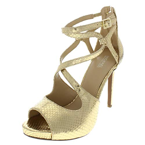 MICHAEL Michael Kors Womens Catia Embossed Evening Sandals Gold 8.5 Medium (B,M)