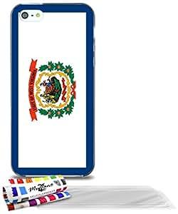 """Carcasa Flexible Ultra-Slim APPLE IPHONE 5 de exclusivo motivo [Virginia Occidental Bandera] [Gris] de MUZZANO  + 3 Pelliculas de Pantalla """"UltraClear"""" + ESTILETE y PAÑO MUZZANO REGALADOS - La Protección Antigolpes ULTIMA, ELEGANTE Y DURADERA para su APPLE IPHONE 5"""