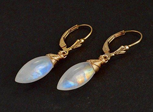 Rainbow Moonstone Wire Wrapped Briolette 14k Gold Filled Leverback Earrings From Sitka, (Briolette 14k Gold Earrings)