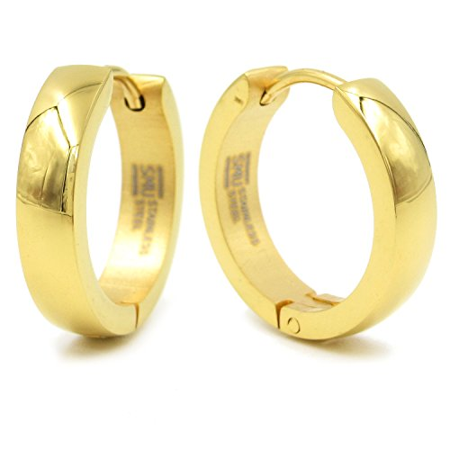 Stainless Steel Gold Color Round Hoop Curve Face Earrings 18mm