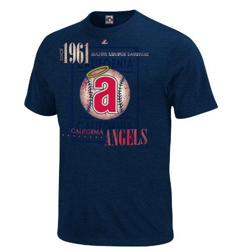 MLB Los Angeles Angels Men's Drawing on Inspiration Short Sleeve Tee, Athletic Navy Heather, Medium