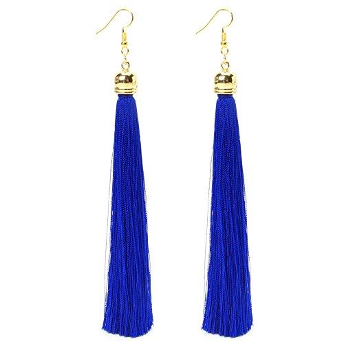 Vintage Long Tassel Dangle Earrings Thread Fringe Drop Earring For Women (Royal Blue) ()