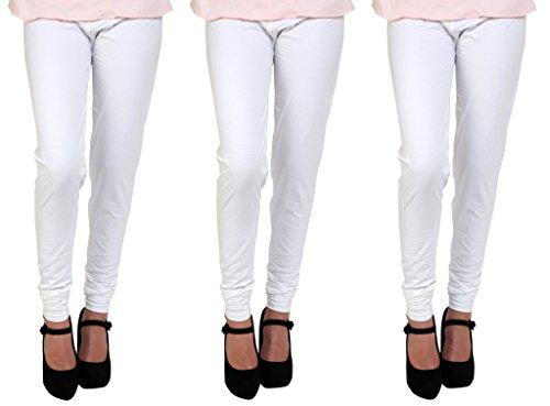 Anekaant Cotton Lycra Women's Churidar Legging Pack of 3 in White