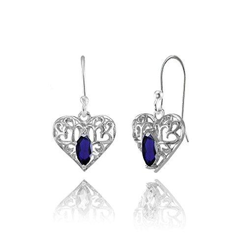 3 Mm Sapphire Heart - Sterling Silver Created Blue Sapphire 6x3mm Marquise Heart Filigree Dangle Earrings