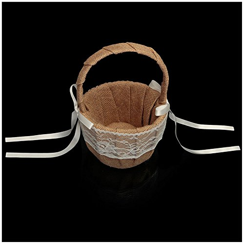 SODIAL(R) Vintage Rustic Wedding Ceremony Hessian Burlap And Lace Flower Girl Basket