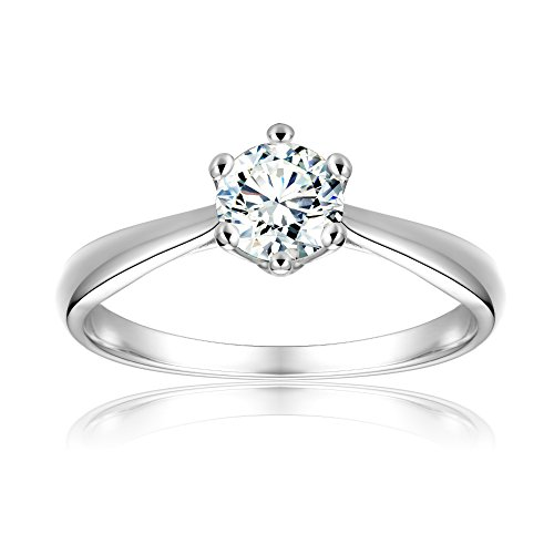 BeFab 1/2 Ctw Cubic Zirconia Classic 6 Prong Round Solitaire Engagement Ring Size 4 5 6 7 8 9 (Silver, 5) ()