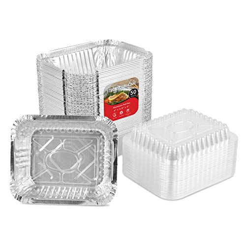 (1 Lb Aluminum Foil Oblong Pans with Plastic Lids - Disposable Take Out Food Containers with Plastic Lids - 50 Container and 50 Lids - 1 Pound Foil Pans for Leftovers, Carry Out, Takeout and To Go)