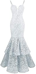 Angel-fashions Women's Spaghetti Strap Lace Ruffle Mermaid Wedding Dress