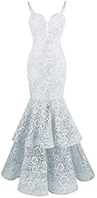 Angel-fashions Women's Spaghetti Strap Lace Ruffle Mermaid Wedding Dress