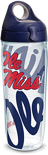 Tervis 1289713 NCAA Mississippi Old Miss Rebels Water Bottle With Lid, 24 oz, Clear