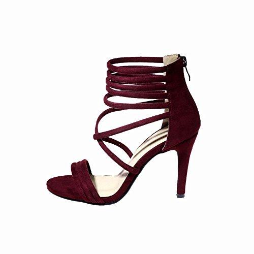 Carolbar Womens Sexy Charm Zip High Heel Party Dress Sandals Wine-red MulaBe