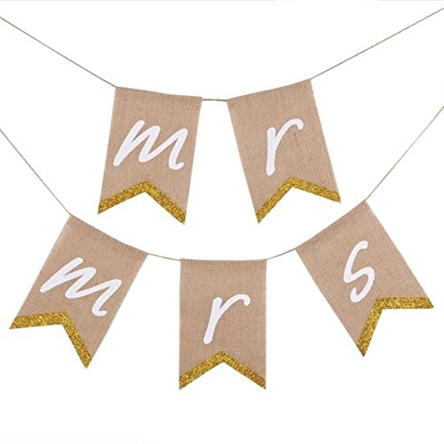 Name One Mr & Mrs Bling Bling Burlap Banner - Awesome DIY Decoration for Rustic Vintage Wedding Party]()