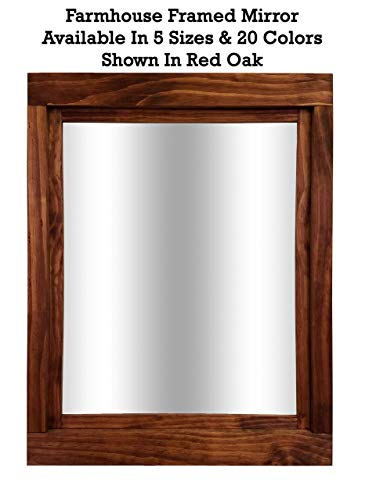 Chestnut Mahogany Vanity - Farmhouse Large Framed Mirror Available in 5 Sizes and 20 Colors: Shown in Red Oak - Large Wall Mirror - Decor Bedroom - Rustic Home Decor - Wall Mounted Mirror - Vanity Mirror