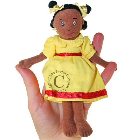 The Puppet Company - Finger Puppets - Girl Dark Skin Tone in Yellow Dress