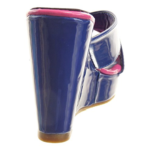 Sopily - Zapatillas de Moda Sandalias Abierto Zapatillas de plataforma Caña baja mujer brillantes metálico Talón Plataforma 11 CM - Azul