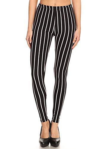 iZZYZX Women's Regular B&W Vertical Thick Striped Pattern Print Leggings ()