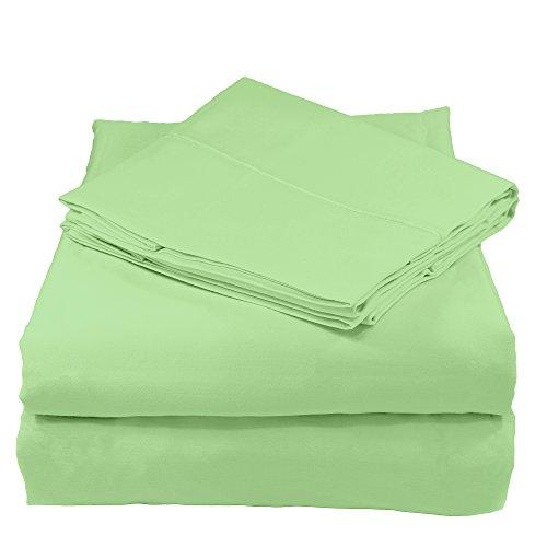 Whisper Organics 300 Thread Count Soft Cotton Twin Bed Sheet Set (GOTS Certified), Pistachio Green