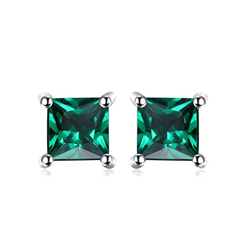Jewelrypalace Square 0.6ct Simulated Russian Nano Emerald 925 Sterling Silver Stud Earrings