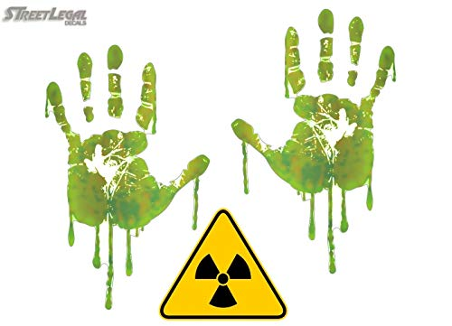 Life Size Radiation Hand Print (Both) 3 Decals Nuclear Apocalypse Walking Zombie Dead Halloween Prop Stickers (5.5