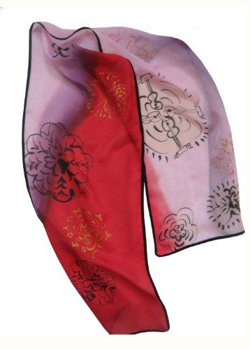 (ArtisanStreet's Filigree Medallions Hand Painted Silk Crepe de Chine)