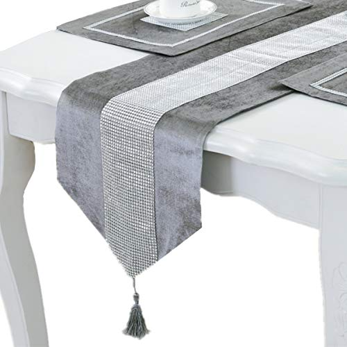 Bettery Home Modern Style Luxury Table Runner Diamante Stripe Tassels Tablecloth for Wedding Holiday Dining Room Decor, 12 x 98 Inches, Grey ()