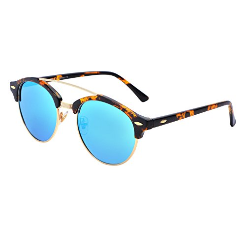 YANQIUYU Classic Retro 50's Semi Rimless 3016 Round Polarized Clubmaster Sunglasses with Metal Rivets (Ice Blue/Gold Rimmed, - Rimmed Sunglasses Gold