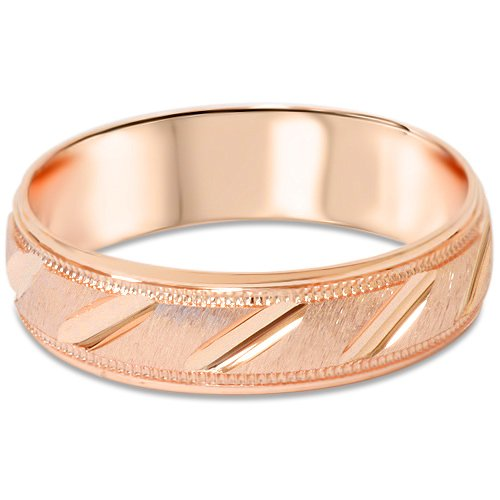 6MM Brushed Hand Carved Wedding Band 14k Rose Gold (Hand Carved Wedding Band)