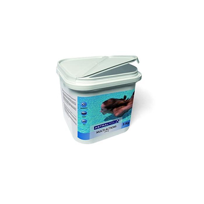411MBlLK1ZL Acción desinfectante: elimina bacterias, virus y microorganismos Acción alguicida: evita el desarrollo de algas Acción floculante: mantiene el agua transparente y previene la turbidez