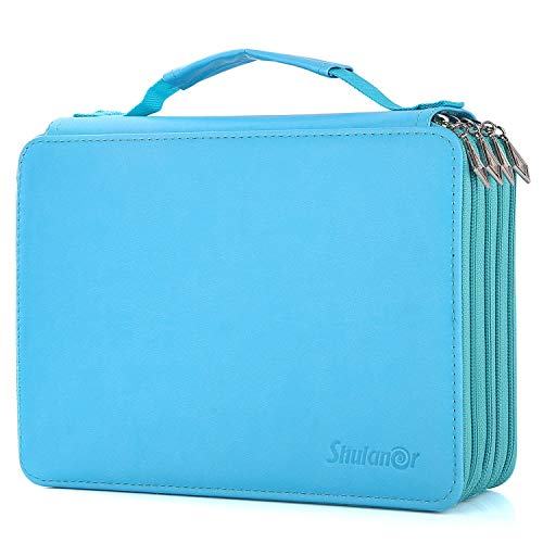 Shulaner 184 Slots Pencil Case Large Capacity Portable Zipper Pencil Holder Organizer for Colored Pencil Watercolor Pencils or Ordinary Pencils Lake Blue