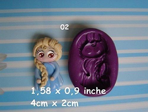 Molde de silicona princesa Fimo, porcelana fria, fondant