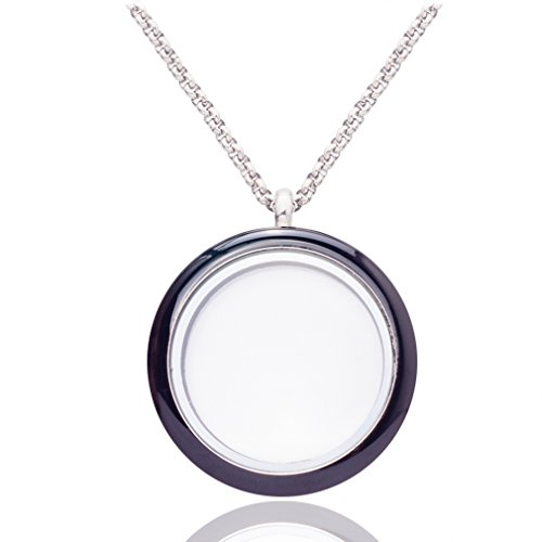 Omnichic Memory Floating Pendant Necklace for Girls Round Glass Locket Black - Girls Black In Glasses
