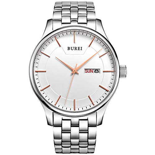 BUREI Men Simple Quartz Watch Silver Analog Dial with Day Date Window Mineral Lens Stainless Steel Case and (Best Bw Watch Phones)