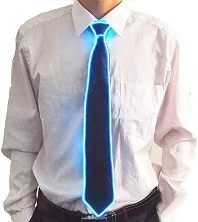 Ohwens - Corbata Luminosa para Hombre con luz LED rojiza, neón, diseño de Rayas, para Disfraces o Cosplay Azul Azul Claro: Amazon.es: Hogar