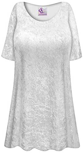 White Crush Velvet Plus Size Supersize Extra Long A-Line Top