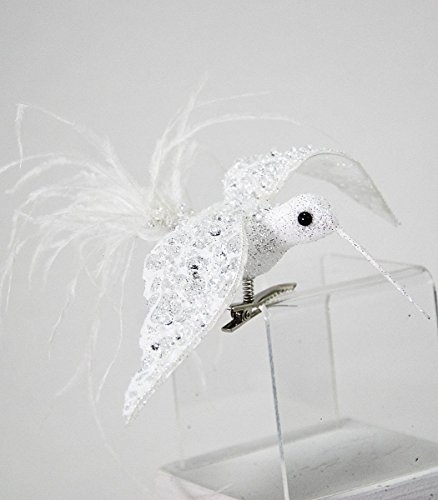 Katherine's Collection Beautiful White Hummingbird Clip Clear Beads -