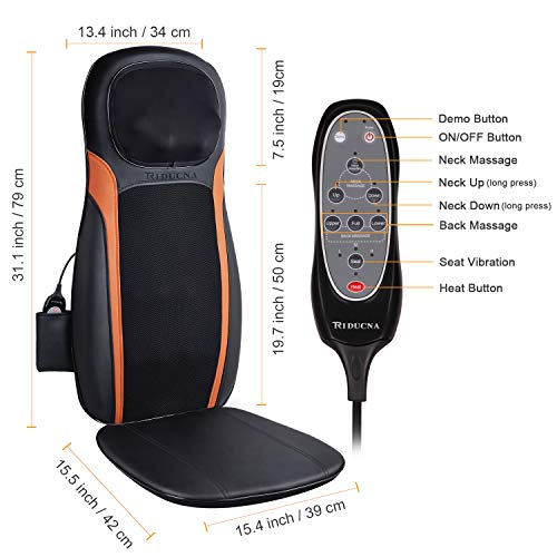 Shiatsu Back Neck Massager Massage Chair Pad with Heat - Massage Seat Cushion with Deep Tissue Kneading, Adjustable Neck Height and Seat Vibration, Muscle Pain Relief at Home and Office