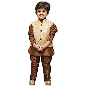 JBN Creation Boys Cotton Silk Kurta Modi Jacket and Breeches Set (Brown_VASBJK058CO)
