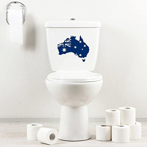 Country Bath Series - StickAny Bathroom Decal Series Australia Country w Flag Sticker for Toilet Bowl, Bath, Seat (Navy)