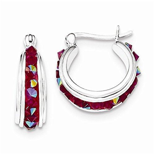 Mia Diamonds 925 Sterling Silver Pink Crystal Hoop Earrings (20mm x 20mm)