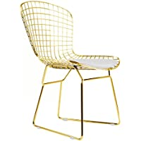 Bertoia Style Side Chair In Gold Finish (White Pad)